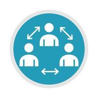 nuevo distanciamiento social físico normal después de la enfermedad del coronavirus covid 19 icono de silueta azul vector