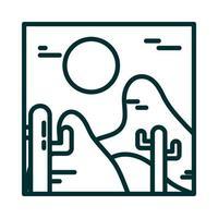landscape arid desert cactus sun wild line icon style vector