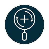 search icon magnifying glass zoom equipment block and line icon vector
