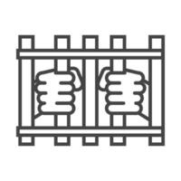 international human rights day fight victims in the jail line icon style vector