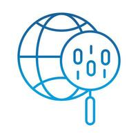 data analysis magnifying glass world social management gradient blue line icon vector
