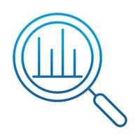 data analysis magnifying glass diagram financial report gradient blue line icon vector