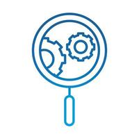 data analysis magnifying glass gear engine optimization gradient blue line icon vector