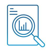 data analysis document information chart economy magnifier gradient blue line icon vector