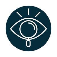 icono de búsqueda lupa observación ojo mirar bloque e icono de línea vector