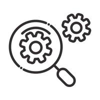 search icon magnifying glass explore gears internet thin line icon vector