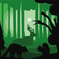 silueta de animales del bosque vector