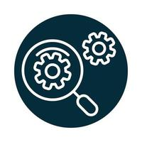 search icon magnifying glass explore gears internet block and line icon vector