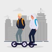 men on electric transport vector