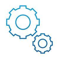 gears cogwheel engine mechanism gradient blue line icon vector
