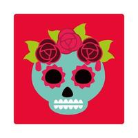 day of the dead green sugar skull with flowers and leaves decoration mexican celebration icon block and flat vector