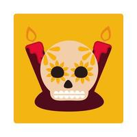day of the dead sugar skull with candles decoration culture mexican celebration icon block and flat vector