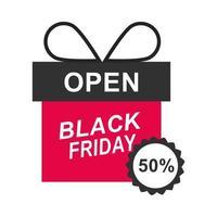 black friday half price discount gift box sticker icon flat style vector