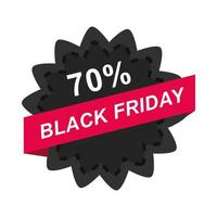 black friday sale offer discount percentage flower sticker layout icon flat style vector