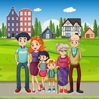Happy family standing outside on many houses background vector