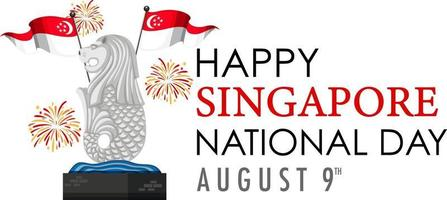 Singapore National Day with Merlion landmark of Singapore vector