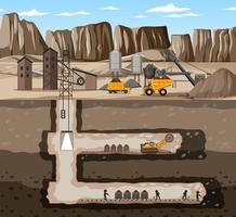 paisaje de la industria minera de carbón con subterráneo vector