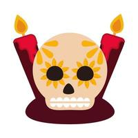 day of the dead sugar skull with candles decoration culture mexican celebration icon flat style vector