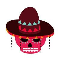 day of the dead sugar skull flowers and hat decoration mexican celebration icon flat style vector