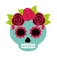 day of the dead green sugar skull with flowers and leaves decoration mexican celebration icon flat style vector
