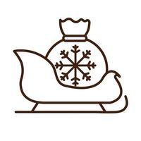 happy merry christmas sled with gift bag celebration festive linear icon style vector