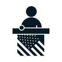 Elecciones de Estados Unidos que habla candidato en el podio diseño de icono de silueta de campaña electoral política vector