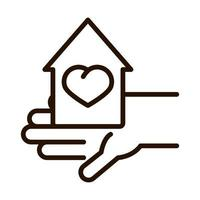 hand holds house love charity donation line icon vector