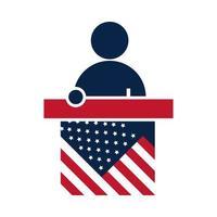 Elecciones de Estados Unidos que habla candidato en el podio de la campaña electoral política diseño de icono plano vector