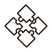 Rompecabezas piezas de rompecabezas icono de línea de conexión diseño aislado vector
