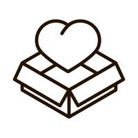 cardboard box heart charity donation and love line icon vector