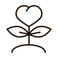 plant shaped heart love charity donation line icon vector