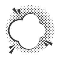 pop art speech bubble dialog cloud halftone style linear design white background vector