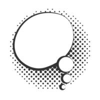 pop art speech bubble cloud halftone style linear design white background vector