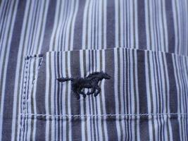 Galloping mustang embroidery on the pocket of a man's shirt photo