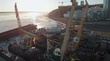 Aerial Shot of Ships in A Ship Yard video