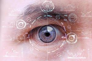 Future human with cyber technology eye panel concept photo