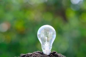 Lightbulb in soil on a green bokeh background photo