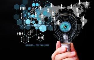 Hand holding futuristic light bulb big data and digital transformation technology strategy photo