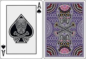 playing card  ace of spades with skull vector
