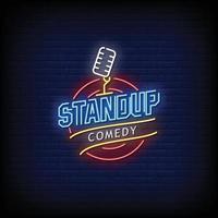 stand up comedy letreros de neón estilo texto vector