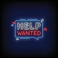 Help Wanted Neon Signs Style Text Vector