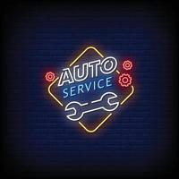 Auto Service Neon Signs Style Text Vector