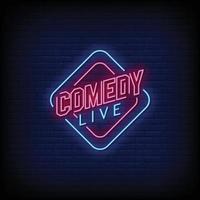 comedia en vivo letreros de neón estilo texto vector