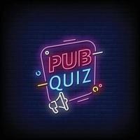 Pub Quiz Neon Signs Style Text Vector