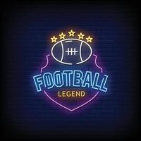 vector de texto de estilo de letreros de neón de leyenda de fútbol