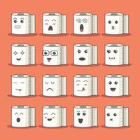 Vector file with toilet paper rolls with faces