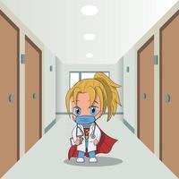 chibi kawaii enfermera o personaje médico. pasillo del hospital en el fondo vector