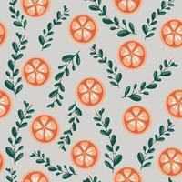 Happy New Year and Merry Christmas seamless pattern Winter illustration with tangerine Christmas flowers and leaves Colorful bright color Design element for packaging cards banners knitwear fabrics vector