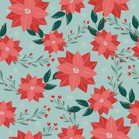 Happy New Year and Merry Christmas seamless pattern Winter illustration with poinsettia Christmas flowers and leaves snowflakes Colorful bright color Design element for packaging postcards banners knitwear fabrics vector