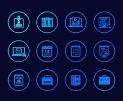 office icons set with documents folders and mail vector